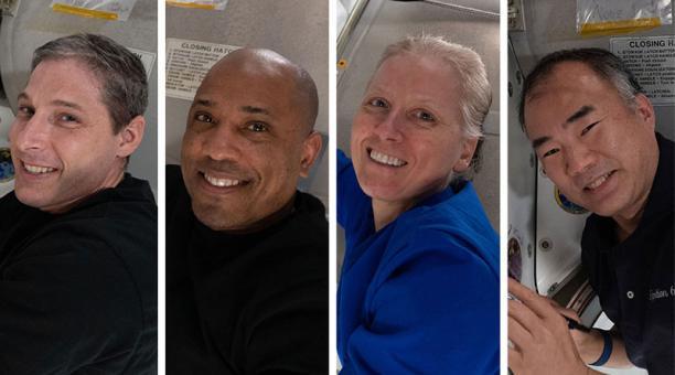 Los astronautas estadounidenses Michael Hopkins, Victor Glover y Shannon Walker y el japonés Soichi Noguchi, tripulación de la llamada SpaceX Crew-1 que regresa de la Estación Espacial Internacional para marcar el fin de la primera misión comercial comple
