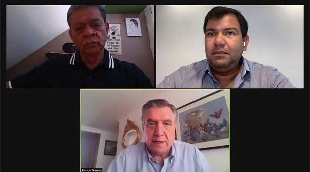 Tres de los siete integrantes del Consejo de Administración de la Legislatura (CAL) durante la sesión virtual del 26 de abril del 2021. Foto: Twitter Asamblea