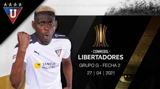 Cristian Martínez Borja anotó para Liga de Quito ante Vélez el 27 de abril del 2021. Foto: @LDU_Oficial