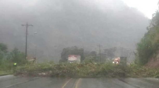 Los cuatro carriles de la Alóag- Santo Domingo, sobre el kilómetro 60, están inhabilitados. Foto: CTE