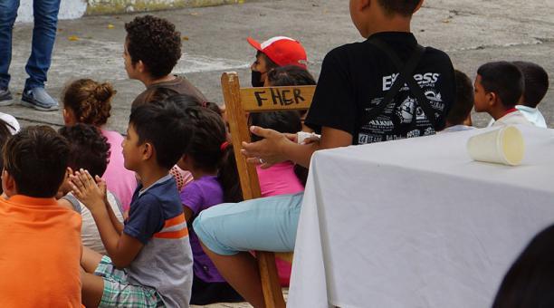 Un grupo de niños migrantes en el albergue Jesús el Buen Pastor, en Tapachula, estado de Chiapas (México). Foto: EFE