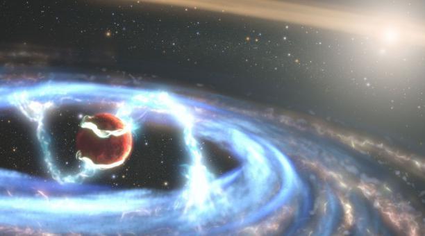 Ilustración de PDS 70b, donde se ha observado cómo el material puede caer sobre el mundo gigante a medida que aumenta su masa. Foto: Europa Press