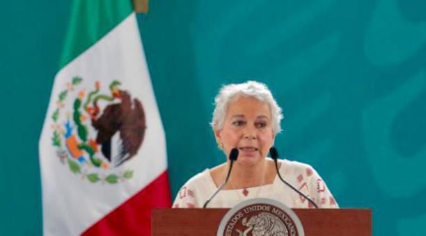 La secretaria mexicana de Gobernación, Olga Sánchez Cordero, durante un evento este lunes 3 de mayo del 2021. Foto: Twitter @M_OlgaSCordero