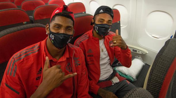 El plantel de Flamengo llegó a Quito el domingo para el partido ante Liga de Quito, por la Libertadores. Tomado de Flamengo