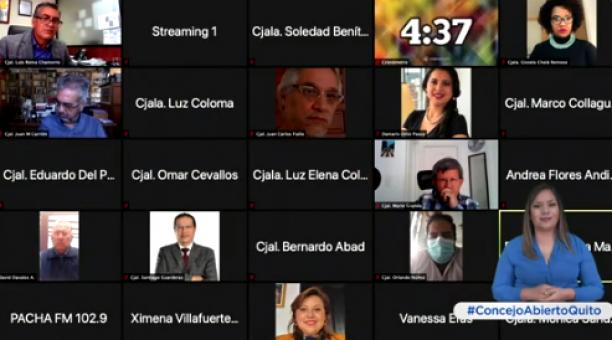 Sesión virtual del Concejo Metropolitano de Quito este martes 4 de mayo del 2021. Foto: Captura de pantalla