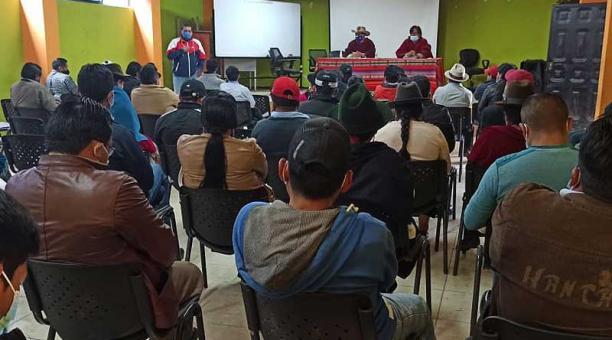 La Confederación del Movimiento Indígena de Chimborazo durante la asamblea del pasado 30 de abril del 2021. Foto: Facebook Comich
