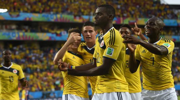Jackson Martinez festeja el segundo gol de Colombia ante Japón. Foto: AFP