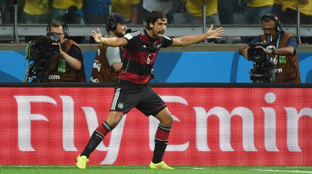 El alemán Sami Khedira celebra el quinto gol ante Brasil. Foto: AFP