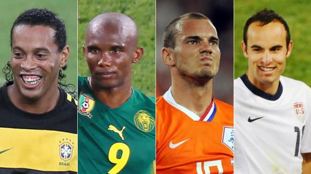 Ronaldinho, Samuel Eto'o, Wesley Sneijder y Landon Donovan. Fotos: AFP