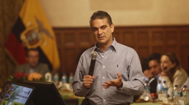 El ministro de Comercio Exterior, Francisco Rivadeneira, dio a conocer los avances del acuerdo con la Unión Europea. Foto: EL COMERCIO