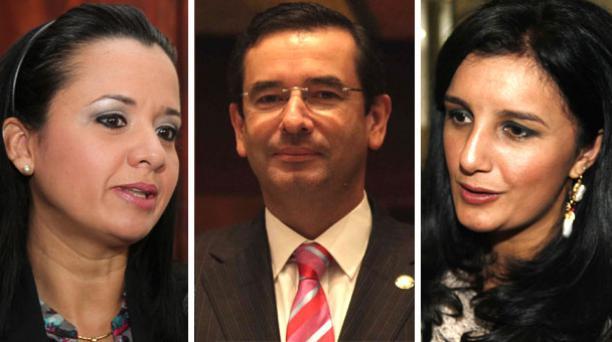 Rossana Alvarado (Izq.), Juan Carlos Cassinelli y Marcela Aguiñaga son los opcionados por AP para la comisión. Foto: EL COMERCIO