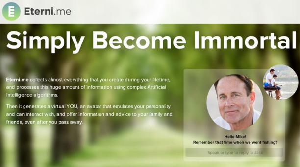 Captura del sitio web Eterni.me. Este sitio ofrece a las personas la posibilidad de interactuar a través de mensajes con los usuarios que ya han fallecido.