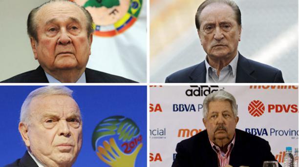 Dirigentes sudamericanos son investigados. En la foto están (izq. a der., desde arriba), el paraguayo Nicolás Leoz expresidente de la Conmebol;  Eugenio Figueredo, vicepresidente de la FIFA; José María Marín, miembro ejecutivo de la Confederación Sudameri