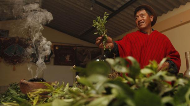Mariano Atupaña Yachac de la comunidad Columbe dan gracias por las cosechas recibidas en la fiesta del Inti Raymi. Imagen registrada el 12 de junio del 2012. Foto: Archivo/ EL COMERCIO.
