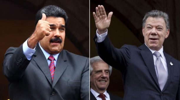 Los presidentes Nicolás Maduro y Juan Manuel Santos iniciaron su reunión en Quito. Foto: Julio Estrella / EL COMERCIO y José Jácome / EFEJosé Jácome