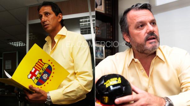 José Francisco Cevallos (izq) y Luis Noboa (der) candidatos a la presidencia del Barcelona Sporting Club. Fotos: Gabriel Proaño/ EL COMERCIO