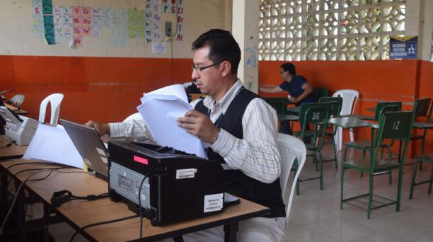 En la Junta Intermedia, ubicada en la escuela Santa María, se realizará el escaneo de los votos de la consulta en La  Manga del Cura. Foto: María Victoria Espinosa / EL COMERCIO