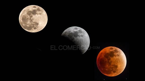 La noche despejada de Quito permitió observar claramente las tres etapas que atravesó la luna durante el eclipse este 27 de septiembre de 2015. Foto: Patricio Terán / EL COMERCIO