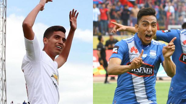 José Cevallos (izq.) de Liga de Quito y Ángel Mena, de Emelec. Dos baluartes de sus equipos. Fotos: EL COMERCIO