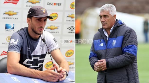 Luis Zubeldía (izq.) DT de Liga de Quito y Omar de Felippe (der.) entrenador del Emelec. EL COMERCIO