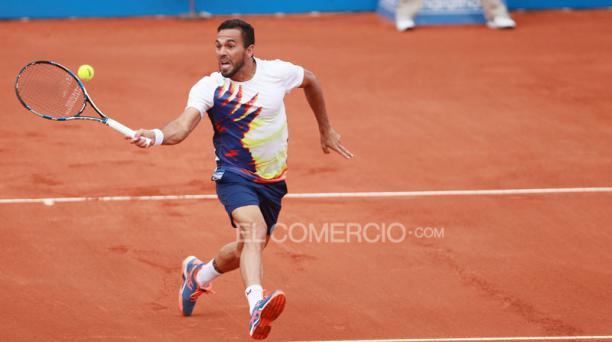 Víctor Estrella en el partido de semifinales del ATP 250 de Quito el 6 de febrero del 2016. Foto: Julio Estrella / EL COMERCIO