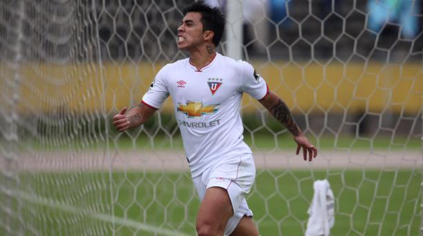 Edson Puch (11) de Liga de Quito celebra el gol anotado al Aucas durante el partido de la séptima fecha jugado en el estadio Olímpico Atahualpa. Foto: Vicente Costales/ EL COMERCIO