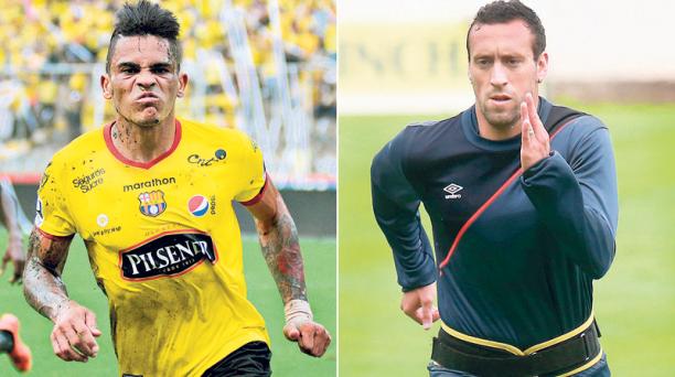 Jonathan Álvez (izq.) y Brahian Alemán (der.) se enfrentarán en el estadio Monumental defendiendo a Barcelona y Liga de Quito, respectivamente