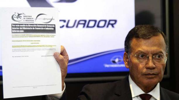 Pedro Merizalde, gerente de Petroecuador ofreció una rueda de prensa para hablar sobre su presunta vinculación con los 'Panama papers'. Foto:  API