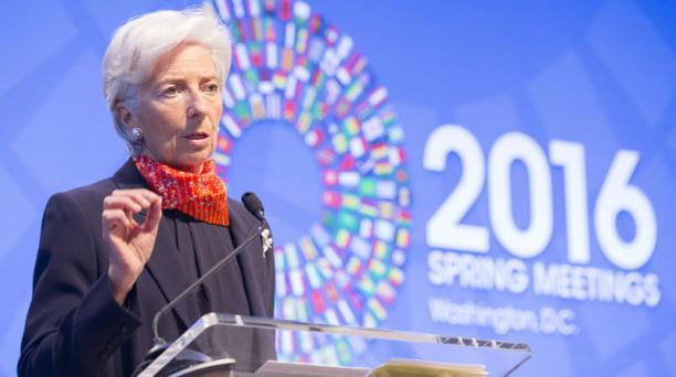 La directora del Fondo Monetario Internacional, Christine Lagarde. El FMI aprobó el viernes 8 de julio el crédito de emergencia que solicitó Ecuador por el terremoto de abril. Foto: Flickr FMI