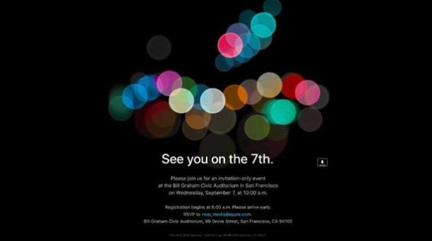 Apple envió hoy, 29 de agosto de 2016, las invitaciones para el evento en el que presentará sus nuevas creaciones que tendrá lugar el 7 de septiembre de 2016. Foto: Captura.