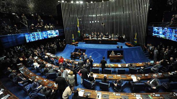 El Senado de Brasil aprobó la destitución de Dilma Rousseff, este 31 de agosto del 2016, con 61 votos a favor y 20 en contra, sin abstenciones. Foto: AFP