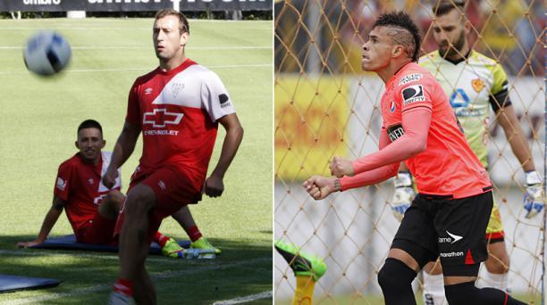 Brahian Alemán (izq.) volante de Liga de Quito y Jonathan Alvez (der.) jugarán en el Estadio Casa Blanca este 19 de octubre del 2016.