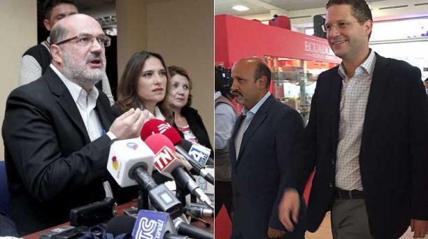 El bloque de concejales de Alianza País dio dos ruedas de prensa sobre Rodas. Mauricio Rodas llegó al aeropuerto de Quito a las 14:00, para viajar a los EE.UU. Fotos: API y Galo Paguay / EL COMERCIO