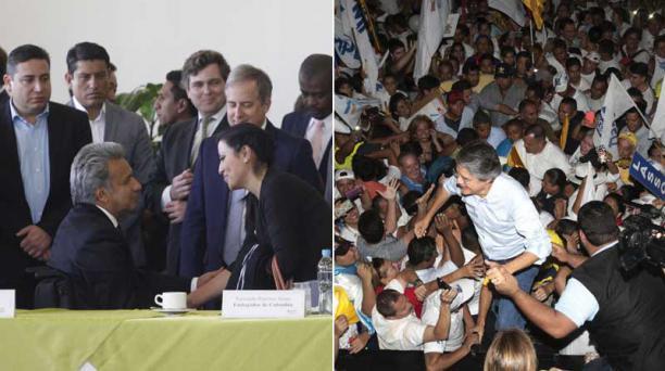 Una semana después de las elecciones presidenciales Moreno logró el reconocimiento de entes como la Organización de Estados Americanos (OEA). Lasso, por su parte mantiene la protesta en las calles. Foto: EL COMERCIO