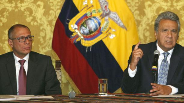 El vicepresidente Jorge Glas, junto al presidente, Lenín Moreno, en una declaración en el Palacio de Carondelet. Foto: Archivo/ EL COMERCIO
