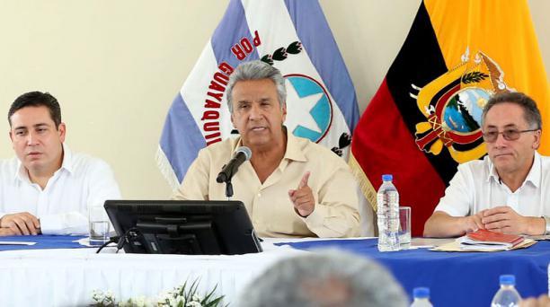 El presidente Lenín Moreno dijo que miembros de Seguridad Presidencial hallaron una cámara oculta en su despacho, en Carondelet. Foto: FLickr Presidencia de la República