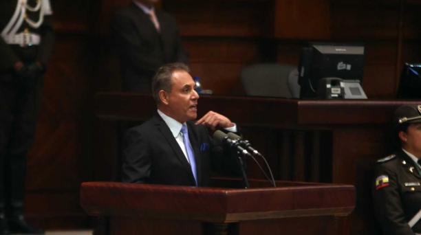Ochoa habló durante 14 minutos en el Pleno de la Asamblea. Foto: Diego Pallero / EL COMERCIO