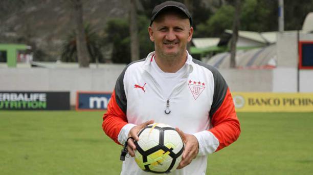 Pablo Repetto, entrenador de Liga de Quito, habla sobre Fabián Bustos y su cargo en Delfín SC. Foto: EL COMERCIO