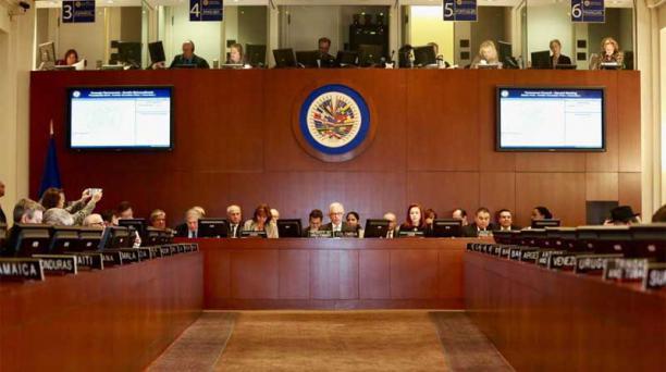 El Consejo Permanente de la Organización de Estados Americanos (OEA) aprobó este viernes, 20 de abril del 2018, una declaración de respaldo a las acciones conjuntas de los gobiernos de Ecuador y Colombia realizadas en la frontera común. Foto: Cortesía Can