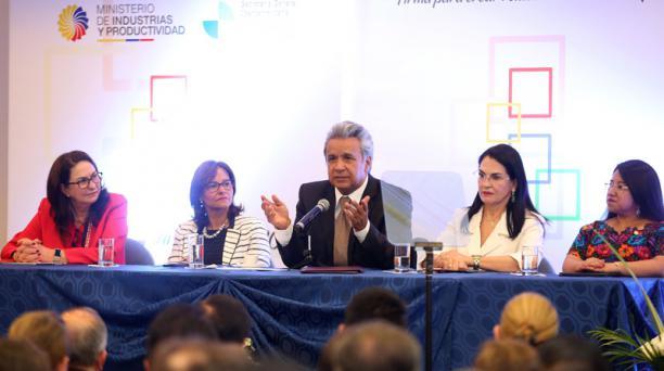 El presidente Lenín Moreno encabezó el I Foro Empresarial Andino, este 17 de mayo del 2018. Foto: Flickr Presidencia