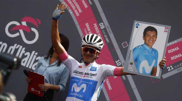 Richard Carapaz mantiene la maglia blanca de líder entre los más jóvenes del Giro de Italia. Foto de la cuenta Twitter del Movistar Team @Movistar_Team