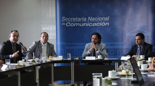 Conversatorio Andrés Michelena, secretario de Comunicación, con medios de comunicación. Foto: Vicente Costales / EL COMERCIO