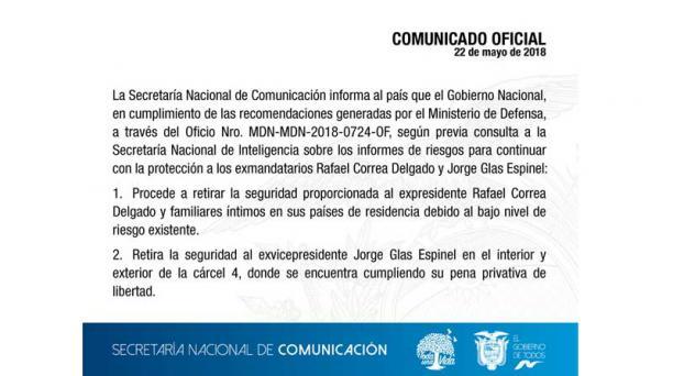 Comunicado Correa