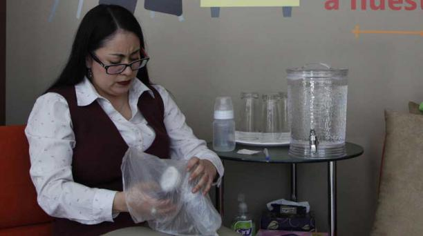 Alejandra Sánchez, de Oriente Seguros, se extrae la leche dos veces por día, para su bebé Emilio, de 6 meses. Galo Paguay / EL COMERCIO
