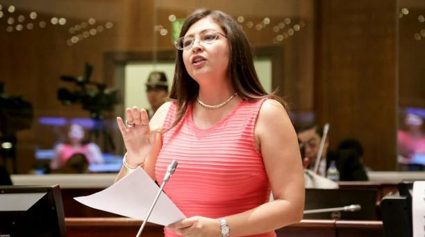 Según el Secretario Nacional de Gestión de la Política, Sofía Espin no fue autorizada para ingresar a la Carcel 4. En la foto, del 21 de junio del 2018, la asambleísta Sofía Espin durante el segundo debate de la ley para el fomento productivo. Foto tomada