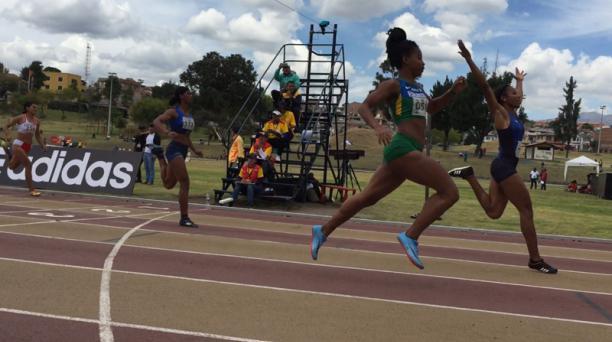Angela Tenorio durante el Sudamericano Sub 23 de Atletismo que se disputa en Cuenca