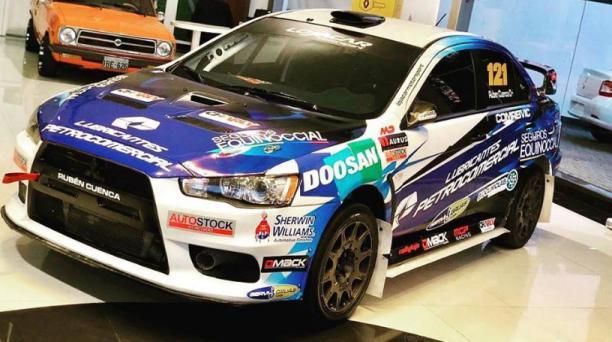 El auto Mitsubishi EVO X del equipo Lojacar motorsports que participará en la Vuelta Automovilística al Ecuador 2018, tomada de la cuenta oficial de Facebook del equipo.
