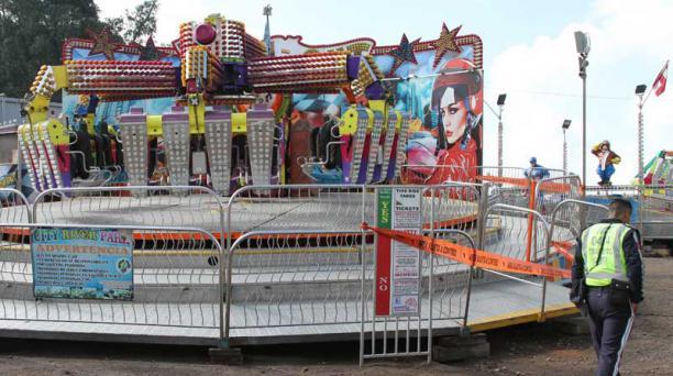 Tras el accidente en El Quinche en el que una joven resultó herida, el parque de diversiones fue clausurado. Foto: Eduardo Terán / EL COMERCIO