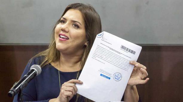 La vicepresidenta María Alejandra Vicuña, durante una rueda de prensa en el palacio de Carondelet el 27 de noviembre del 2018. Foto: Armando Prado / EL COMERCIO