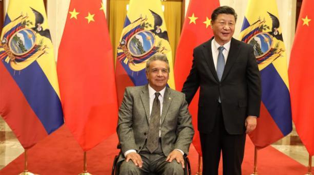 En el Palacio del Pueblo, el presidente de Ecuador, Lenín Moreno (izq) y su homólogo chino, Xi Jinping, mantuvieron un encuentro de trabajo para la suscripción de convenios bilaterales.